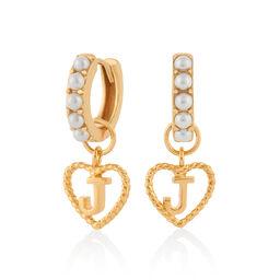 Faux Pearl Heart Initial Huggie Hoop Gold