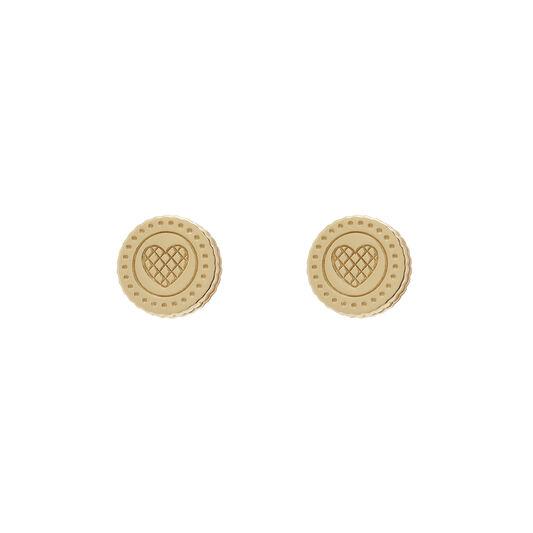 Tea Party Biscuit Gold Stud Earrings