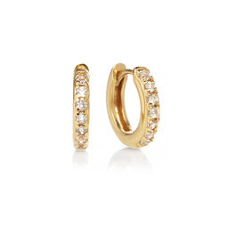 Gold White Topaz Huggie Hoop Earrings