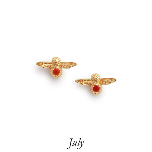 Celebration Gold & Red Agate Bee Studs