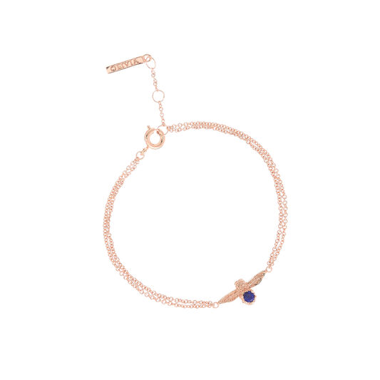 3D Bee Bejewelled Chain Bracelet Rose Gold with Lapis Lazuli Gemstone