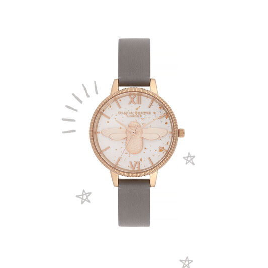 3D Bee Celestial Grey & Rose Gold Watch