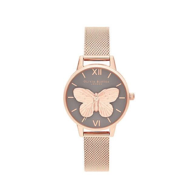 3D Butterfly Grey & Rose Gold Mesh Watch