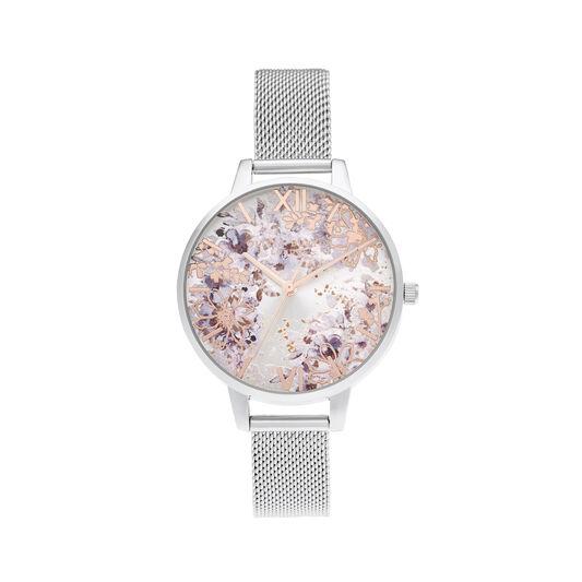 Cadran intermédiaire Abstract Floral et bracelet milanais argent et or rose
