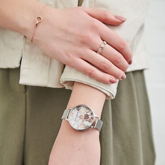 Marble Floral Mesh, Rose Gold & Silver