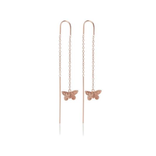 3D Butterfly Threader Rose Gold Earrings