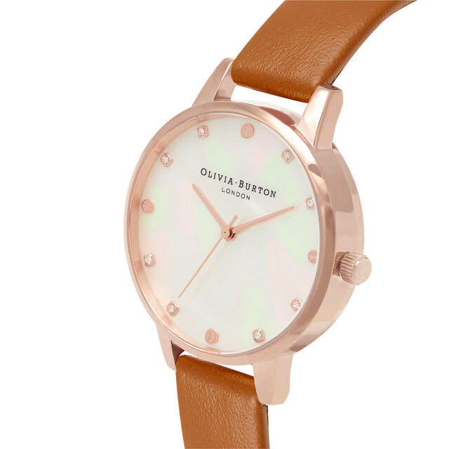 Demi Mother Of Pearl Dial Tan & Rose Gold Watch