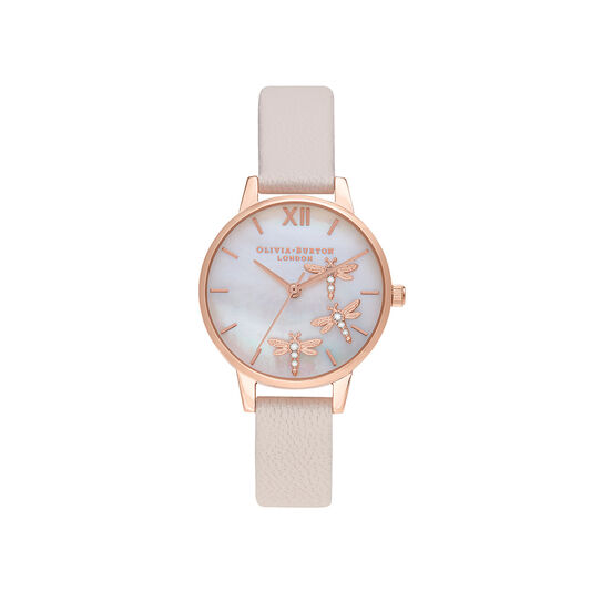 Dancing Dragonfly Blush Faux MOP Dial, Pearl Pink & Rose Gold