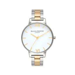 Big Dial White Dial Silver & Gold Bracelet Watch