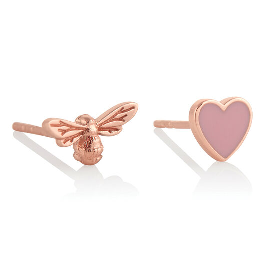 You Have My Heart Studs Pink & Rose Gold