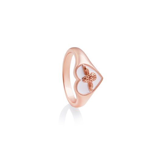 Love Bug Signet Ring White & Rose Gold S