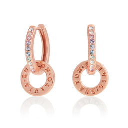 Bejewelled Classics Rainbow Interlink Huggie Hoops Rose Gold