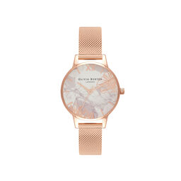 Abstract Florals Rose Gold Mesh Watch