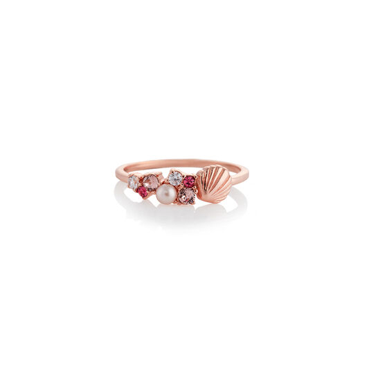 Under The Sea Shell Bubble Ring Rose Gold L