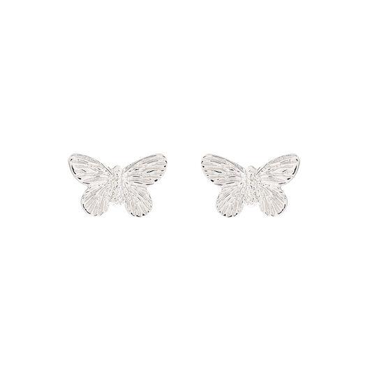 3D Butterfly Silver Studs