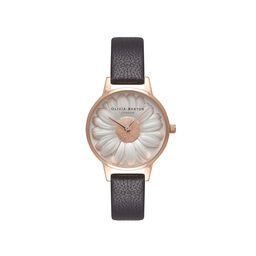 3D Daisy Black & Rose Gold Watch
