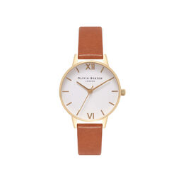 White Dial Tan & Gold Watch