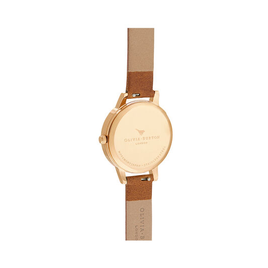 Woven Dial Tan & Gold Watch