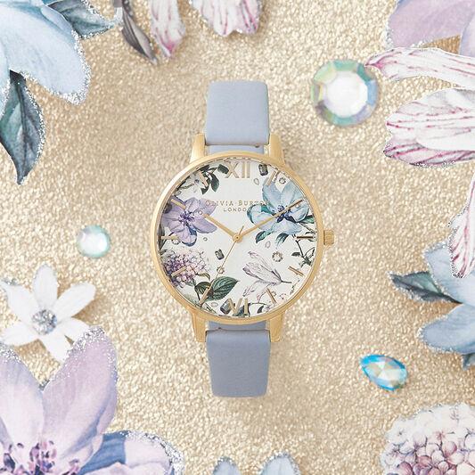 Bejewelled Florals Big Dial Chalk Blue & Gold
