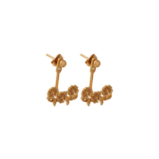 Lace Detail Jacket Earring Gold