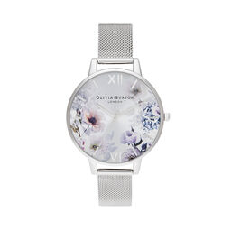 Sunlight Florals Silver Mesh Watch