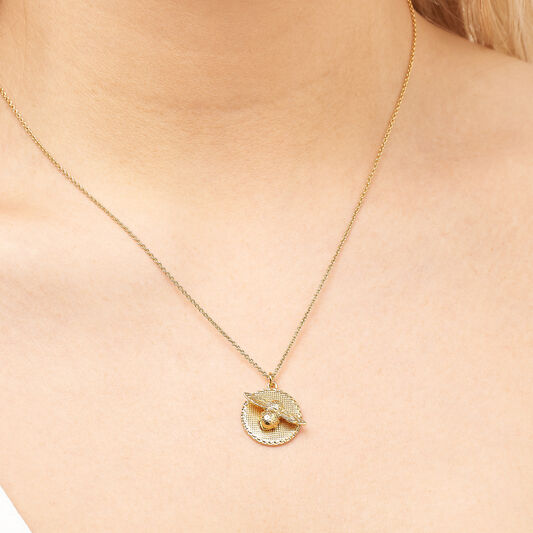 3D Bee & Coin Gold Necklace