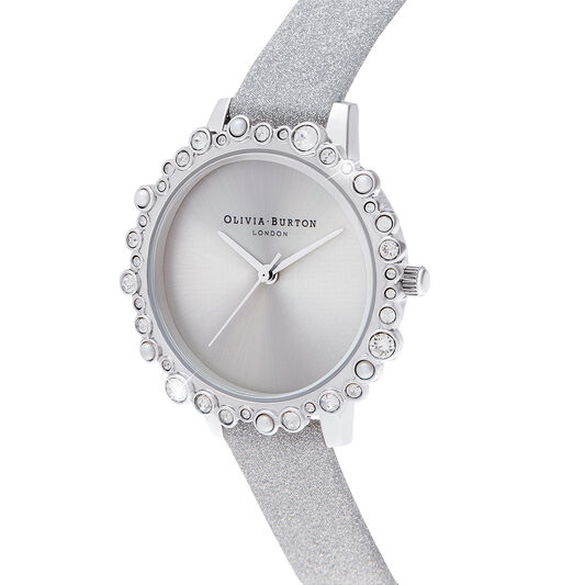 Bubble Case Midi Dial Grey Glitter Strap & Silver Watch