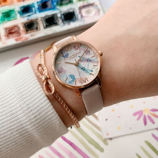Dragonfly Thin Case Pearl Pink & Rose Gold Watch