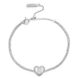 'S' Heart Initial Chain Bracelet Silver