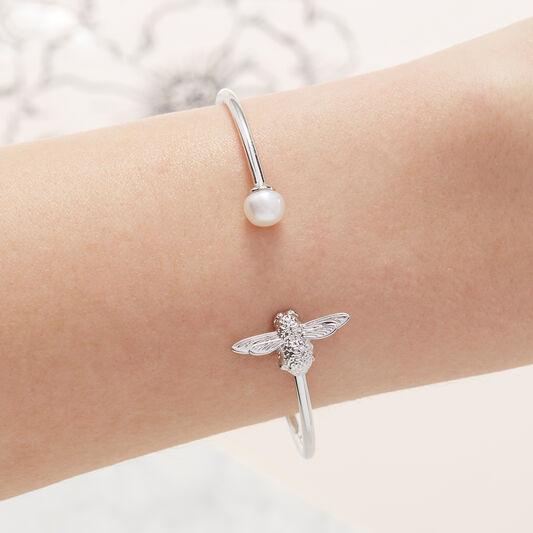 Pearl Bee Bangle Silver