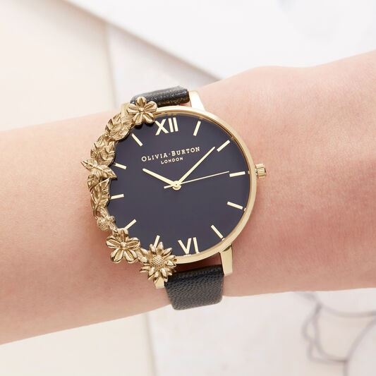 Case Cuff Black Dial and Gold Watch