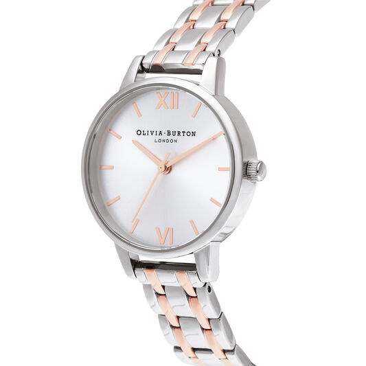 Midi Dial Silver & Pale Rose Gold Watch