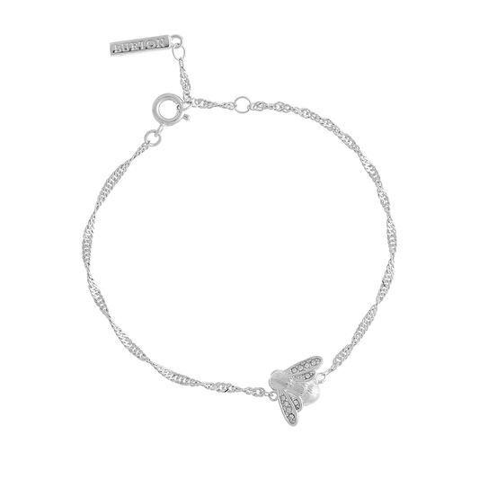 Glitter Bee Vintage Twist Silver Bracelet