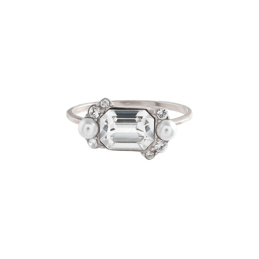 Clear Stone & Pearl Silver Cocktail Ring