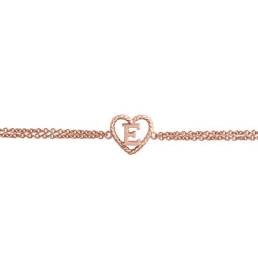 'E' Heart Initial Chain Bracelet Rose Gold