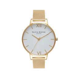 Big Dial Gold Mesh Watch