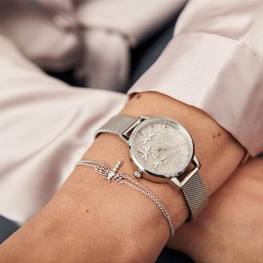 Cadran pailleté blanc poudré et bracelet milanais argent