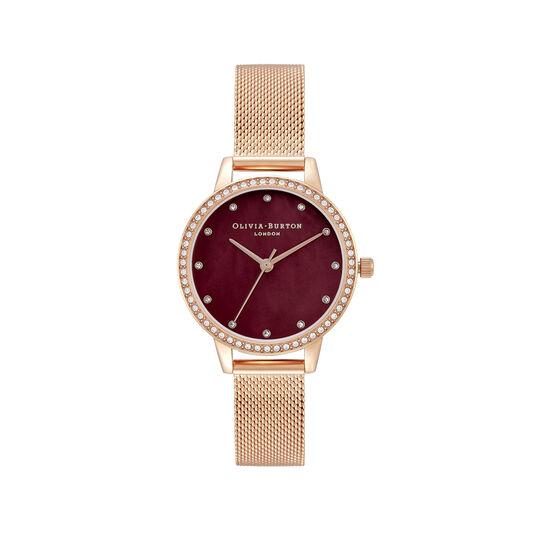 Montre Classic à cadran Midi et bracelet milanais bordeaux et or rose