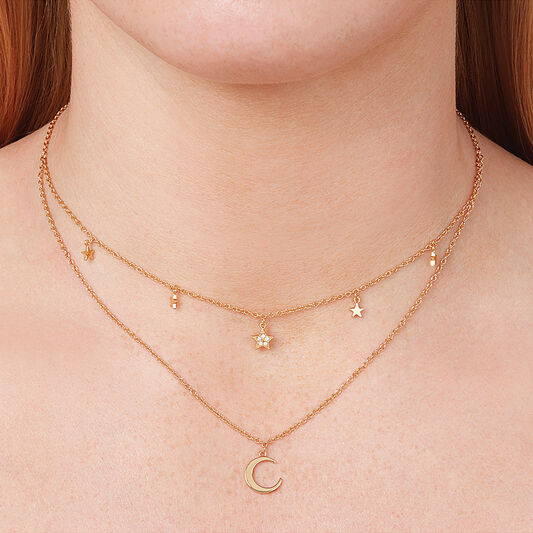 Celestial Double Crescent Moon and Star Necklace Gold