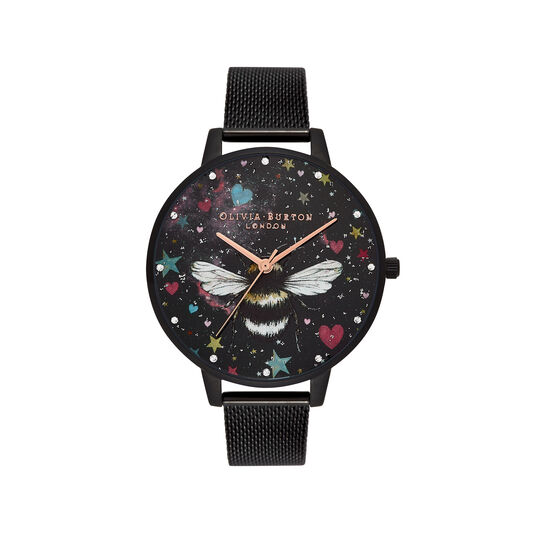 Night Garden Big Dial, Slim Case Black & Rose Gold Watch