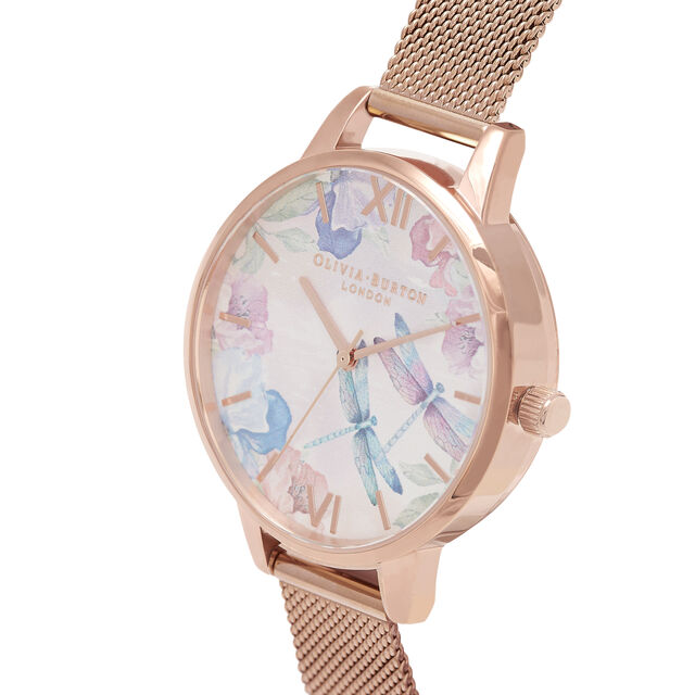 Dragonfly Thin Case Rose Gold Mesh Watch