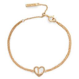 'L' Heart Initial Chain Bracelet Gold