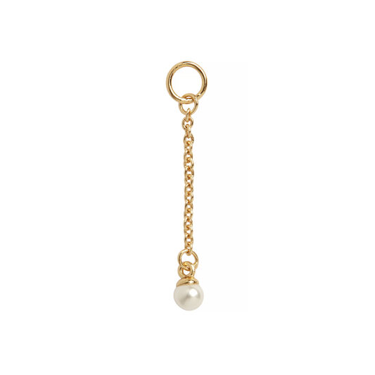 Pearl Drop Gold Huggie Charm