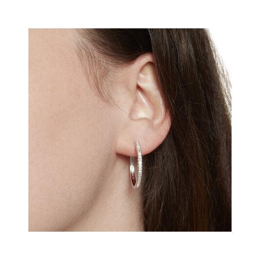 Cubic Zirconia & Silver Hoop Earrings