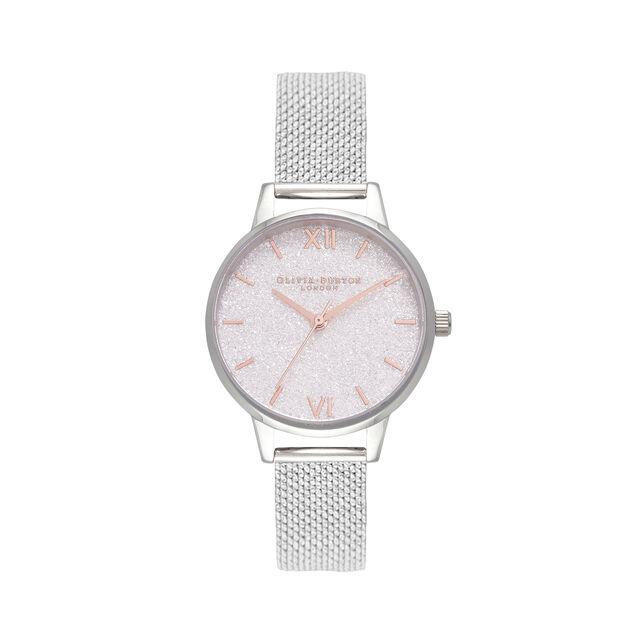 Montre Midi à bracelet milanais argent et cadran Glitter blanc