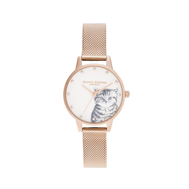 Illustrated Animals Pearly Kitten, Pale Rose Gold Mesh