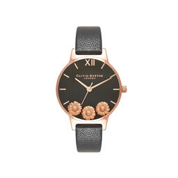 Dancing Daisy Black & Rose Gold Watch