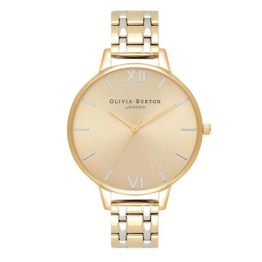 Montre-bracelet en or pâle et en argent, à gros cadran et à boîtier mince