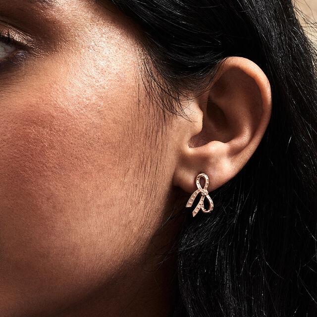 Bow Rose Gold Stud Earrings