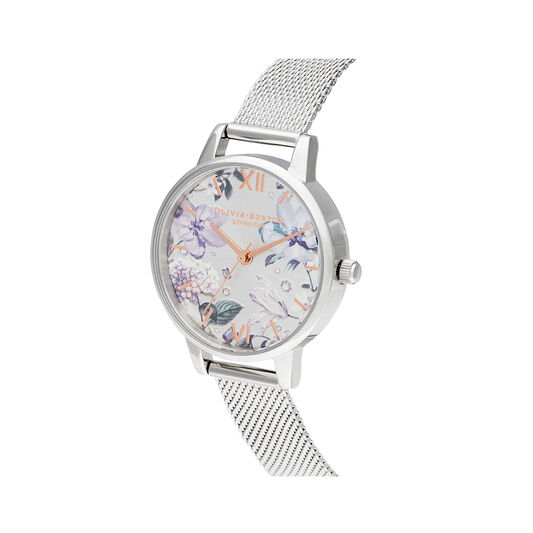 Bejewelled Florals Silver Mesh Watch